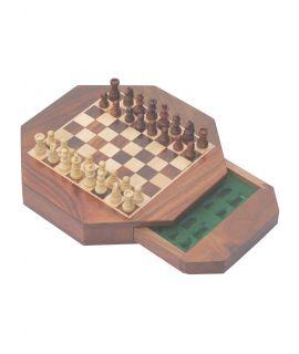 Achthoekig magnetisch schaakspel voor op reis 18 x 18 x 3,5 cm