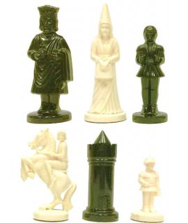 Medieval style plastic white & black chess pieces weighted - king height 96 mm - size 6 - vintage