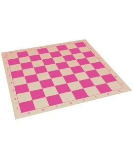 Vinyl roll-up chess board 51 cm - chess squares 57 mm pink and white