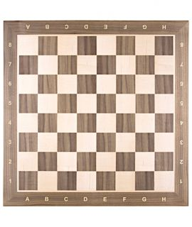 Chessboard 48 cm walnut - maple with notation - squares 50 mm