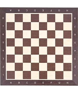Chess board imprinted black - pine with decorated edge - field size 50 mm (#5)