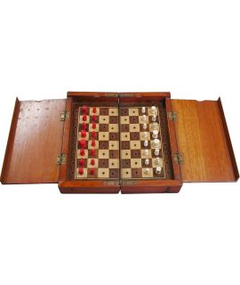Jaques Whittington travel chess set - 25 cm - 19th century